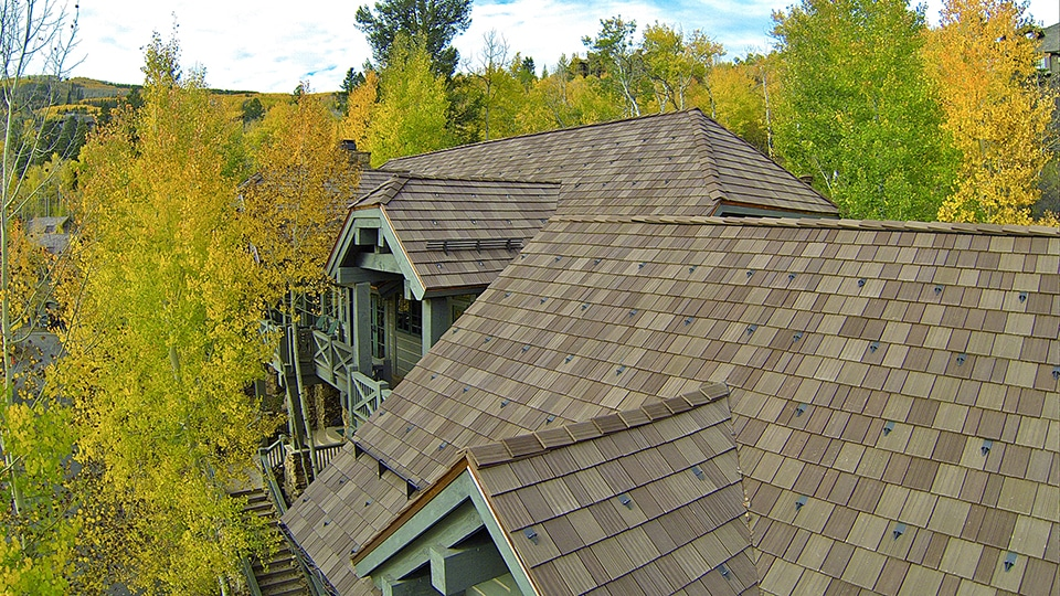 Colorado townhome community topped with davinci roofscapes for Davinci shake roof reviews