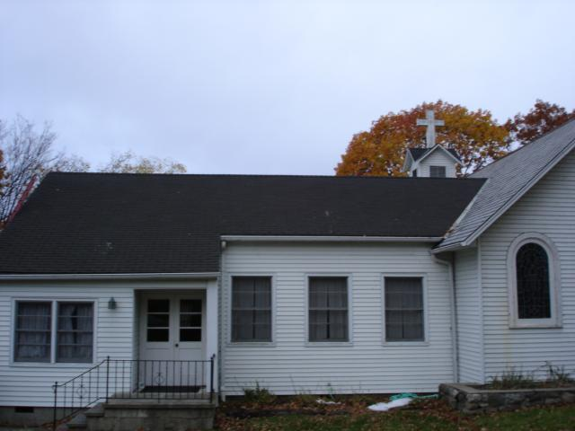 chapel with slate and asphalt mix roof