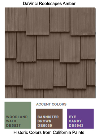 DaVinci Roofscapes Amber imitation shake is the perfect roofing for this California Paints Historic Color Scheme