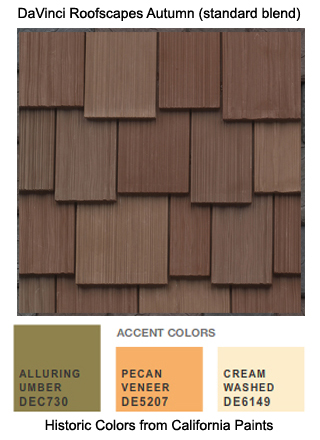 DaVinci Roofscapes Autumn standard cedar shake alternative is the perfect roofing for this California Paints Historic Color Scheme