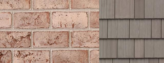 Brick with DaVinci Roofscapes Fake Cedar Shingle in Weathered Gray
