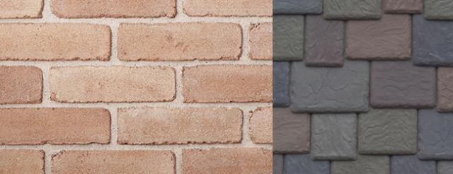 Beldin Belcrest310 Brick Bayport (Pink) with DaVinci Roofscapes Aberdeen Synthetic Slate