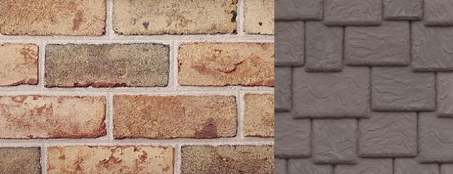 Beldon Brick Bridgeport Blend (Tan) with DaVinci Roofscapes Light Brown and Medium Brown Synthetic Slate