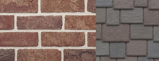 Beldon Brick Garnet Blend (Brown) with DaVinci Roofscapes Brownstone Synthetic Shake