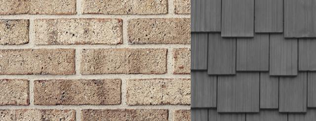 Brick Color complimented by DaVinci Roofscapes Fake Cedar Shake in Weathered Gray