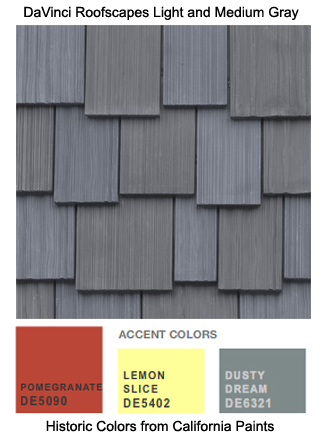 DaVinci Roofscapes Gray fake cedar shakes are the perfect roofing for this California Paints Historic Color Scheme