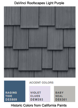DaVinci Roofscapes Light Purple composite shake is the perfect roofing for this California Paints Historic Color Scheme