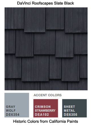 DaVinci Roofscapes Slate Black cedar roof shingles is the perfect roofing for this California Paints Historic Color Scheme