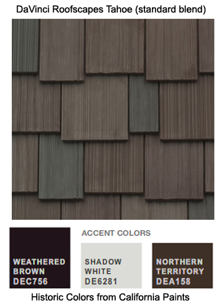 DaVinci Roofscapes Tahoe standard is the perfect roofing for this California Paints Historic Color Scheme