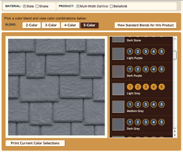 Choose either cedar shake alternative or rubber slate roof