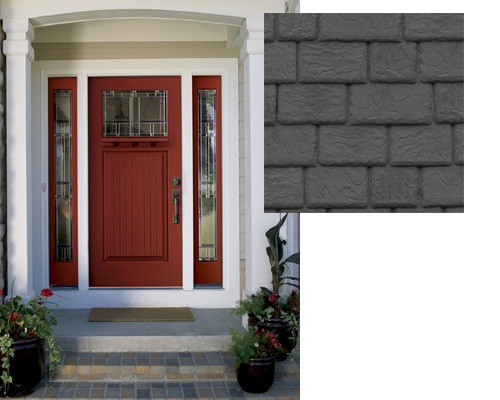 Slate Gray Plastic Shake Roof with Red Door