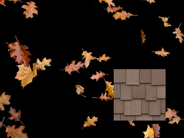 Autumn blend is standard in DaVinci Roofscapes imitation shake tiles