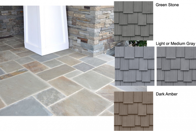 Simulated shake or slate paired with stone details on a home exterior