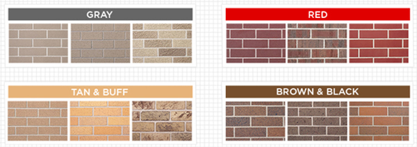 Examples of the colorcast of bricks