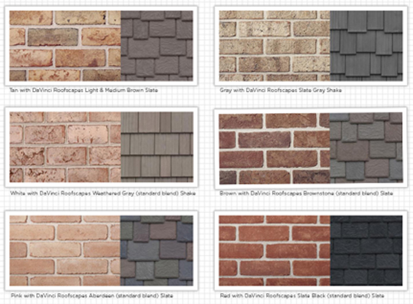 Examples of brick and imitation slate and shake roofing shingles with the same colorcast