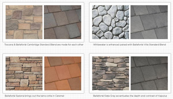 Examples of the colorcast of stone matching the colorcast of the rubber roofing solution