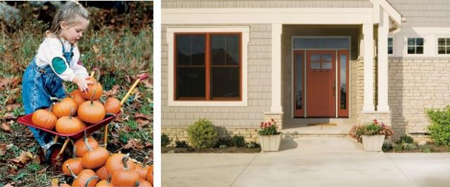 Traditional orange pumpkin inspired exterior color scheme