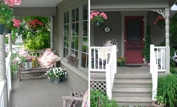 Pink front door accents warm gray home