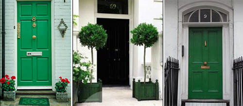 Pantone Emerald Green--color of the year 2013 -- examples of home exterior