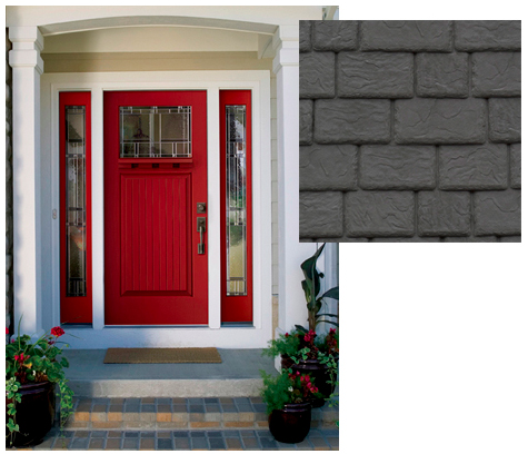 DaVinci Slate Gray Synthetic Slate with a red front door