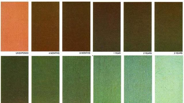 Chart of Colors of Copper Patina at different stages of the aging process