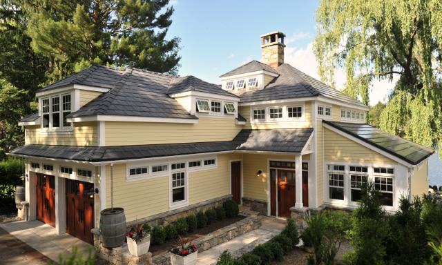 davinci slate black roof on bungalow style home