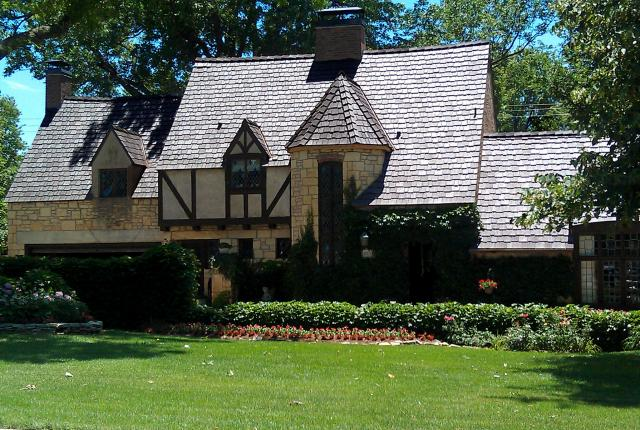 tudor home with davinci tiles