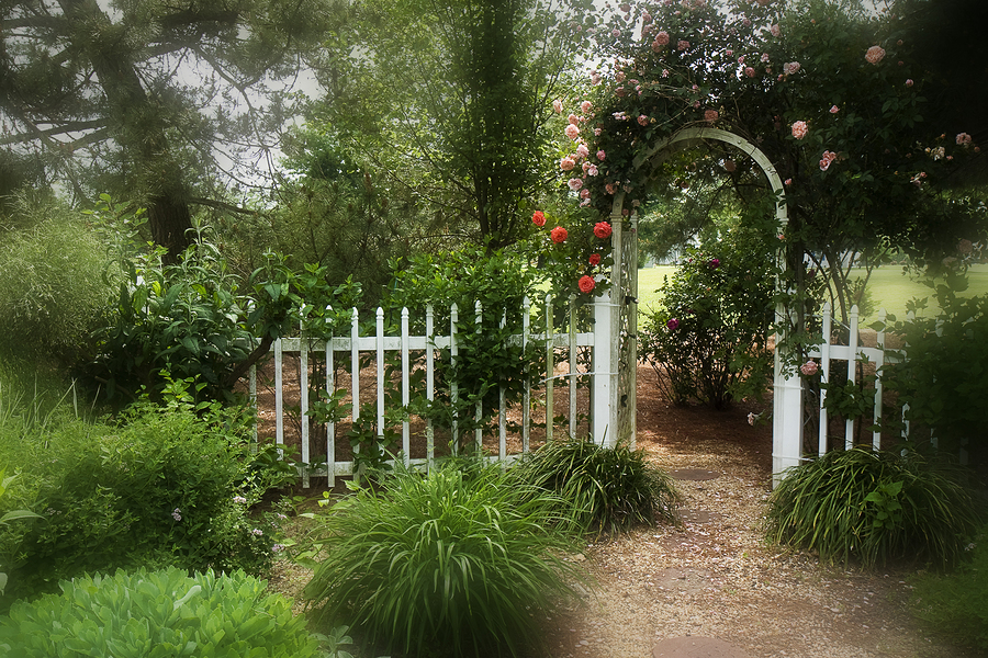 English Garden Design with arch