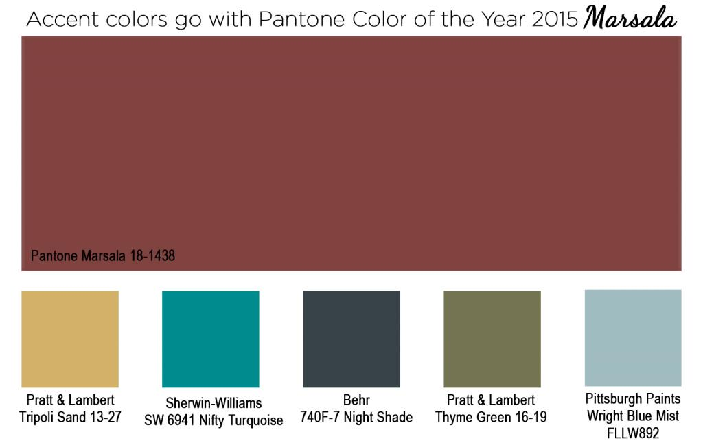 Accent colors to go with Pantone Color of the year 2015 Marsala