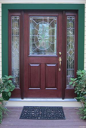 Green exterior color with Therma-Tru front door