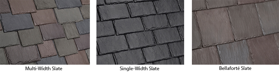 slate images including multi-width, single-width and Bellaforte slate