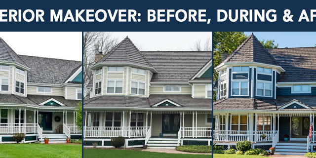 exterior makeover, before, during, and after