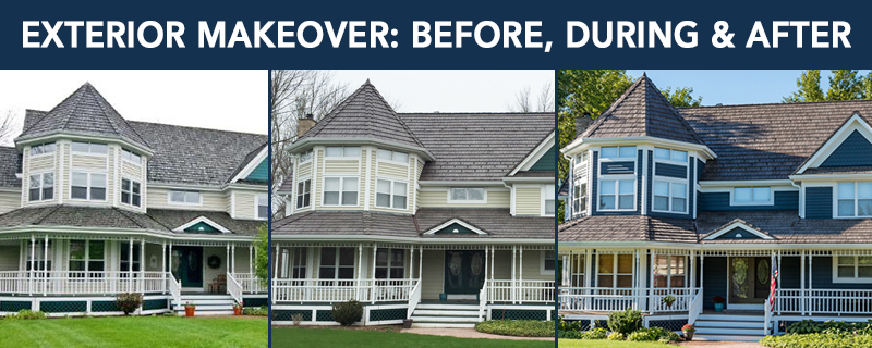 exterior makeover before, during and after