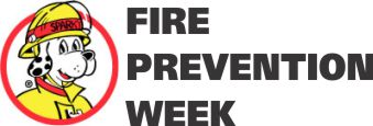 fire prevention week graphic with sparky the dalmation