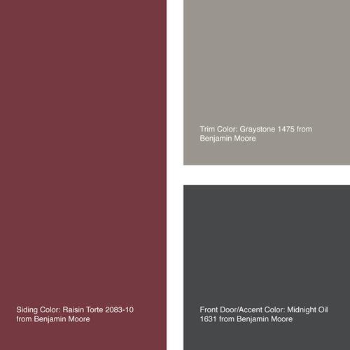 color palette in raisin torte, graystone, and midnight oil