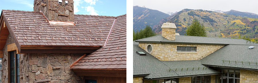 davinci snowguards on two roofs in different parts of the country