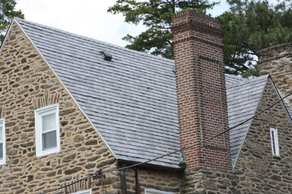 davinci synthetic slate roof on home in pennsylvania