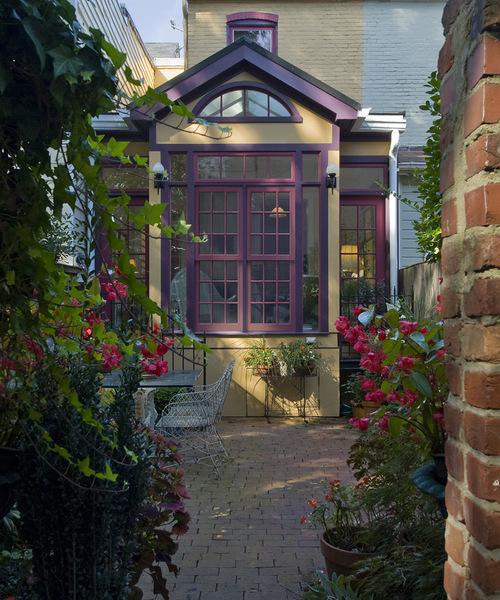 bright purple trim on rear home exterior