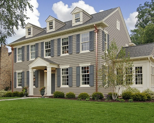 gray tone-on-tone color scheme on home exterior