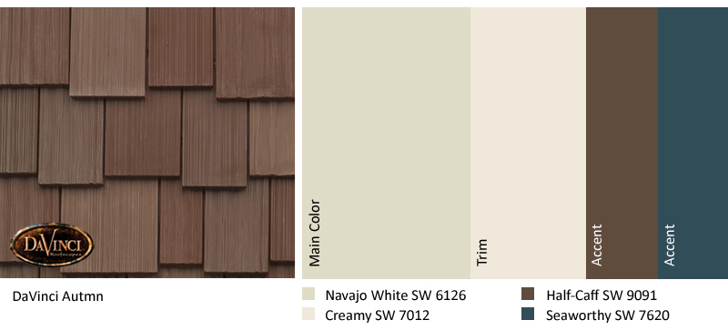 davinci autumn color swatch paired with navajo white, creamy, half-caff, and seaworthy paint