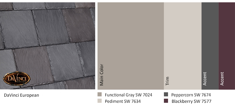 The Monochromatic Paint On Home Allows For Excitement Using A Bold Gray And Dark Red Accent Color These Tones Are Repeated In European Roof Tiles