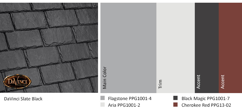 Exterior paint colors for homes with black roof review for Davinci slate roof reviews