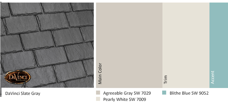 davinci slate gray color scheme with agreeable gray, pearly white, and blithe blue