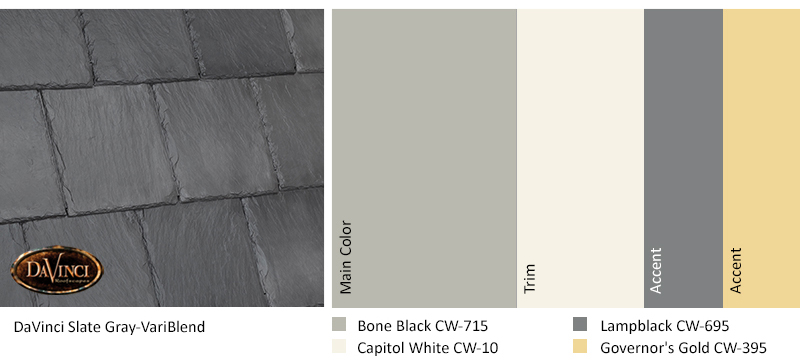 davinci slate gray color scheme with bone black, capitol white, lampblack, and governor's gold