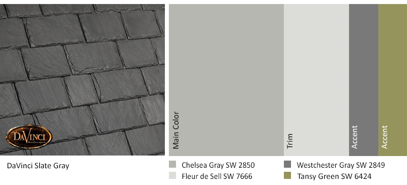 davinci slate gray color scheme with chelsea gray, fleur de sell, westchester gray, and tansy green