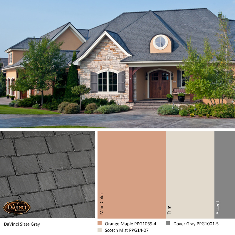 davinci slate gray color scheme with orange maple, scotch mist, and dover gray