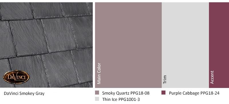 exterior color scheme smokey gray davinci slate roof