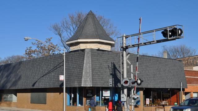 polymer davinci roofing tiles on town building