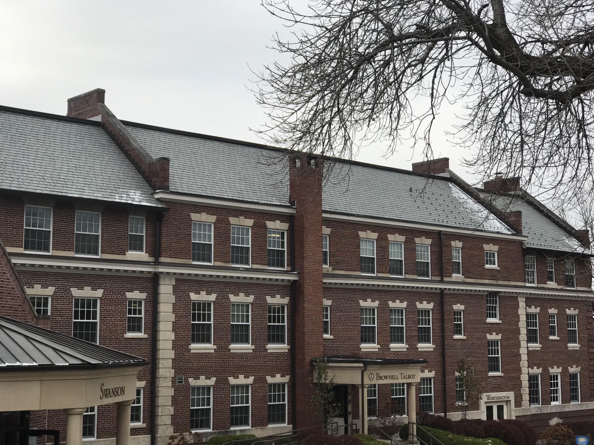 brownell talbot campus building with a davinci composite slate roof