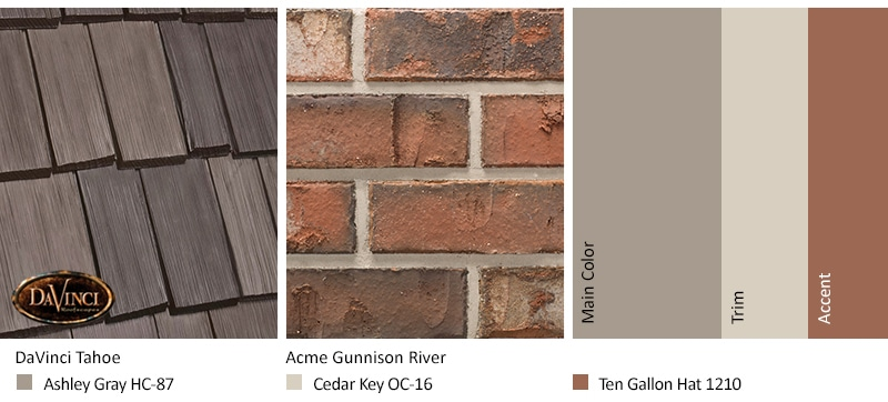 Red Brick Exterior Color Schemes and Bellaforté Shake Tahoe roof